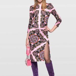 PINKO Scarf Print Jersey Dress, NWT